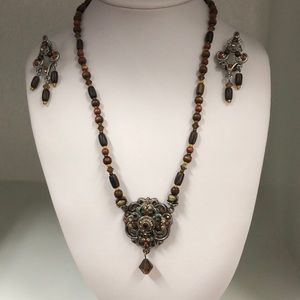 Jewelry - LeCroix Noir Brown/Gold Necklace & Earrings $11